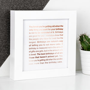birthdays - wise words framed foil prints