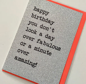 happy birthday fabulous ... glitter card