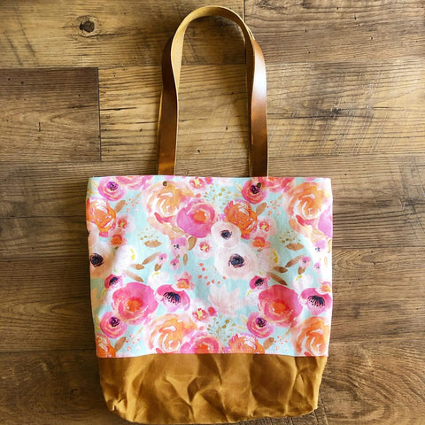 Blush Watercolor Floral Tote Bag (Large)