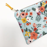 Light Blue Floral Zipper Pouch