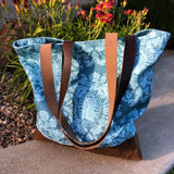 Our Lady of Guadalupe Blue Floral Tote Bag (Large)