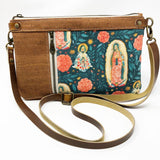 Our Lady of Guadalupe Multicolor Floral Double-zip Crossbody