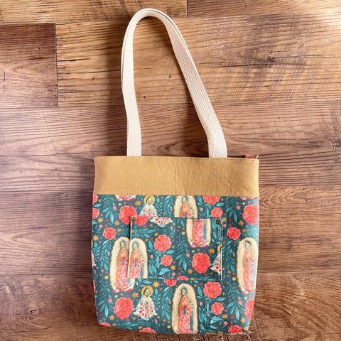 Our Lady of Guadalupe Multicolor Floral Tote Bag (Small)