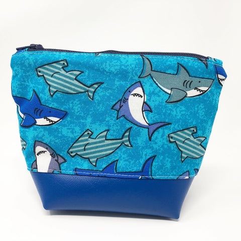 Blue Shark Boxy Zipper Pouch (Small)