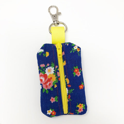 Blue Floral Rosary Pouch