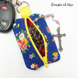 Coral Floral Rosary Pouch