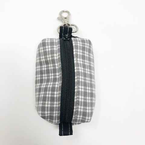 Gray Plaid Rosary Pouch (Large)