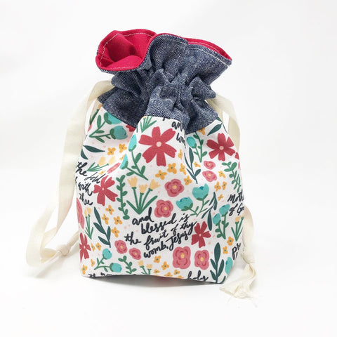 Hail Mary Floral Drawstring Pouch