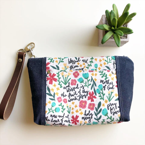 Hail Mary Floral Wristlet