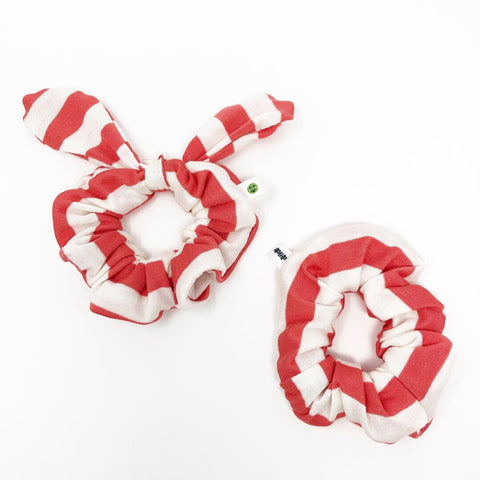 Coral Stripe Scrunchie