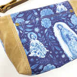 Our Lady of Guadalupe Blues Floral Wristlet
