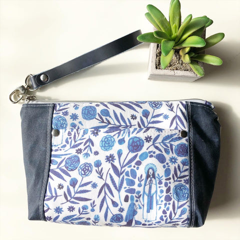 Our Lady of Lourdes Floral Wristlet