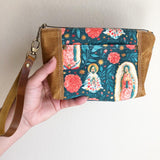Our Lady of Guadalupe Multicolor Floral Wristlet