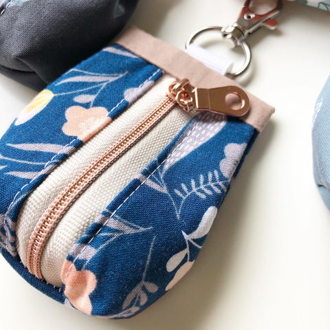 Navy and Rose Gold Rosary Pouch
