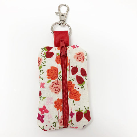 Strawberry Floral Rosary Pouch