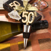 Anniversary Favours - 50th Anniversary Golden Wine Bottle Stopper Favours
