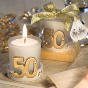 Anniversary Favours - Golden 50th Anniversary Candle Favour