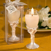 Anniversary Favours - Pearlised Ivory Double Heart Design Champagne Flute Candle Holders Favour
