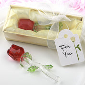 Anniversary Favours - Red Rose Crystal With Long Stem