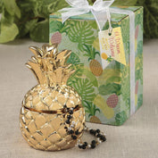 Trinket Box Favours - Pineapple Themed Gold Pineapple Box From The Warm Welcome Collection