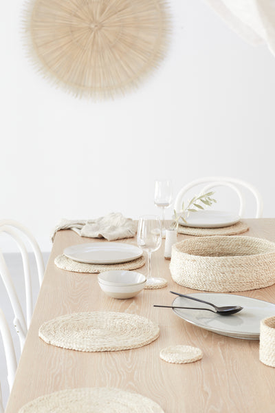 Round Natural Jute Placemats x 8 in basket