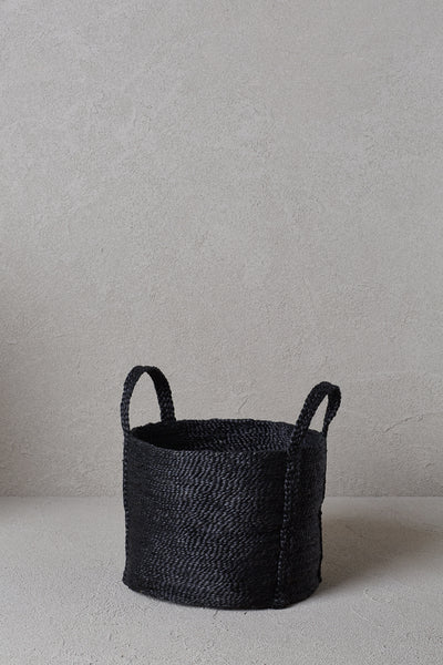 Round Jute Basket - Charcoal