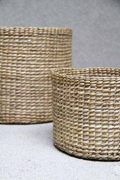 The Dharma Door Basket Trio of Round Grass Baskets - Tall Trio of Round Grass Baskets - Tall