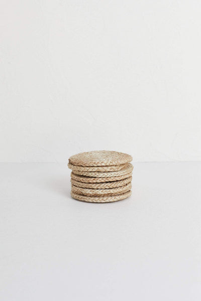 The Dharma Door Home, Table and Gifts Round Jute Coaster Set x 8 in basket Round Natural Jute Coasters x 8 in basket