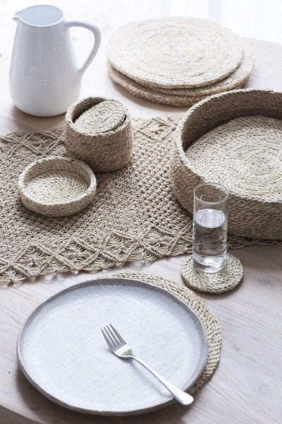 The Dharma Door Home, Table and Gifts Round Jute Coaster Set Round Natural Jute Coasters x 8 (in lidded basket)