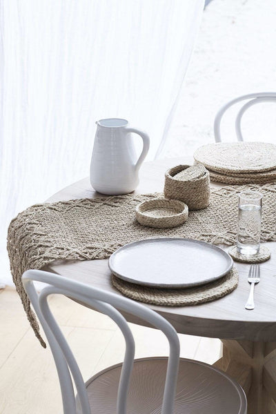 The Dharma Door Home, Table and Gifts Round Jute Placemat Set Round Natural Jute Placemats x 8(in lidded basket)