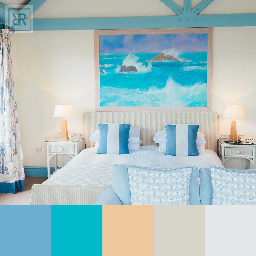 Sparkling blue with ocean vibes bedroom interior color scheme