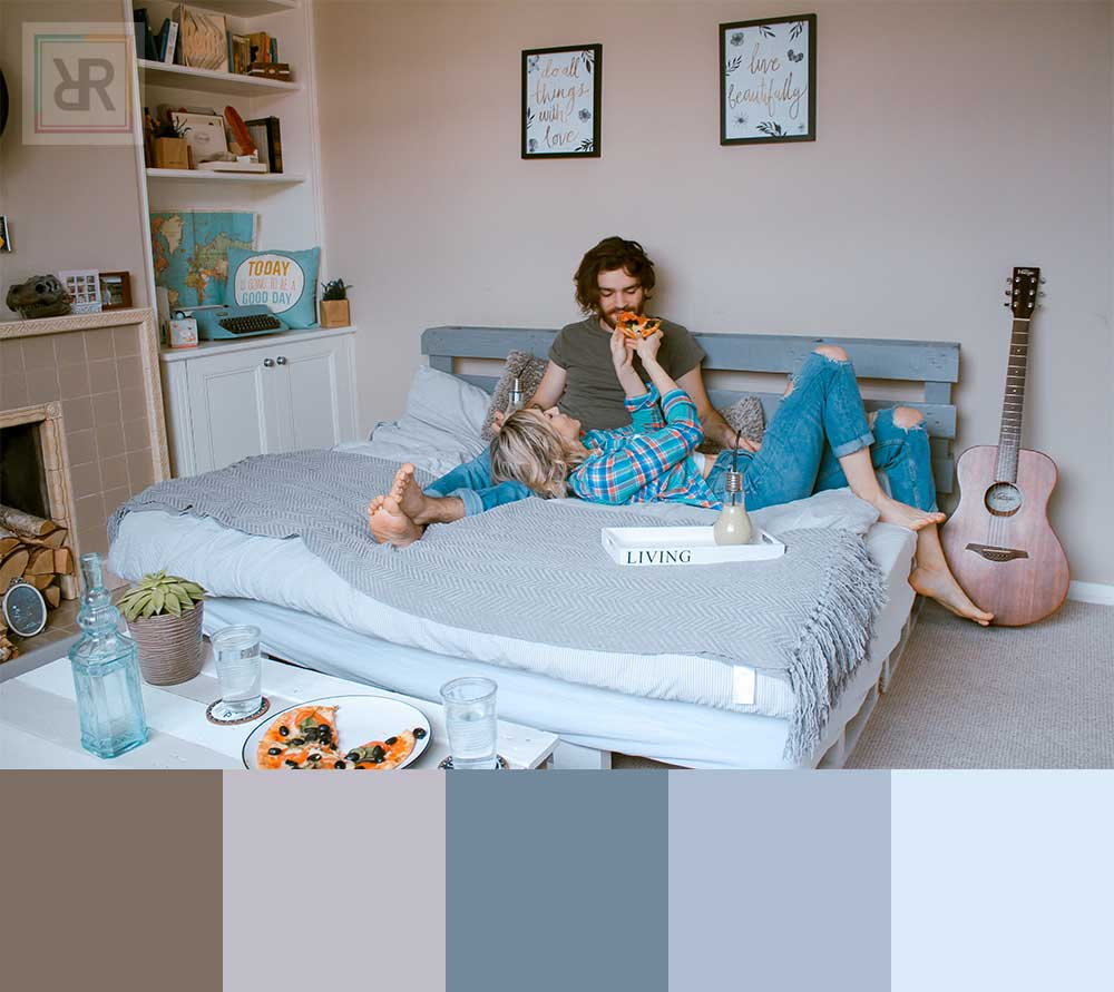Chilly pastel with brown accents bedroom interior color scheme