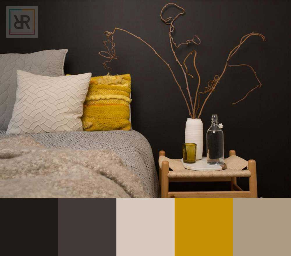 Calming yellow balance bedroom interior color scheme