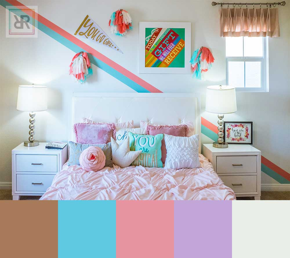 Energetic neon palette bedroom interior color scheme