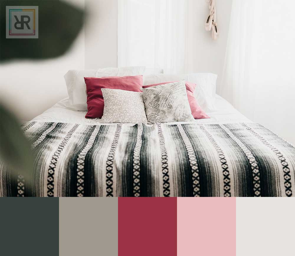 Crimson and ebony balance bedroom interior color scheme