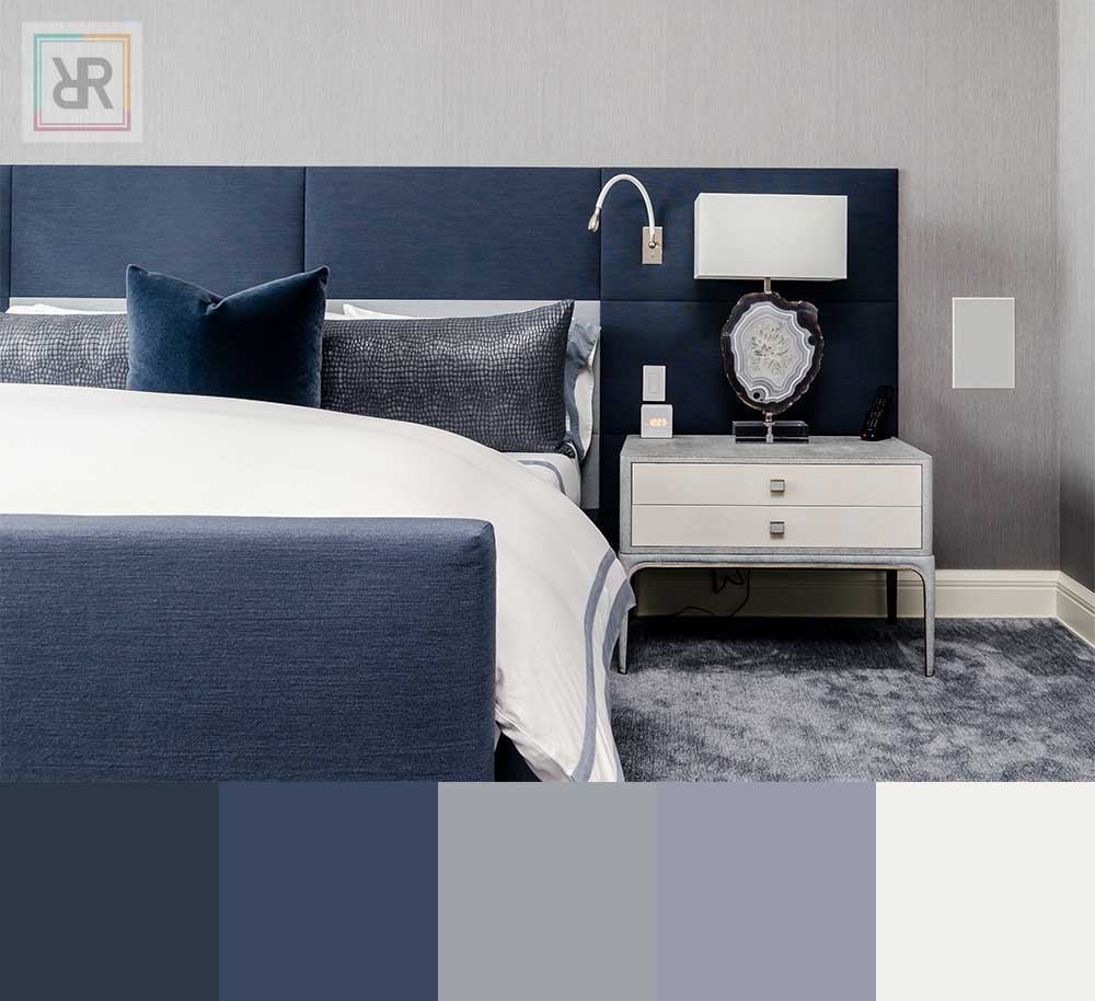 Royal blue bedroom interior color scheme
