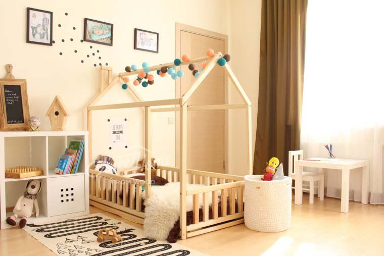 light baby room interior - sweet home from wood