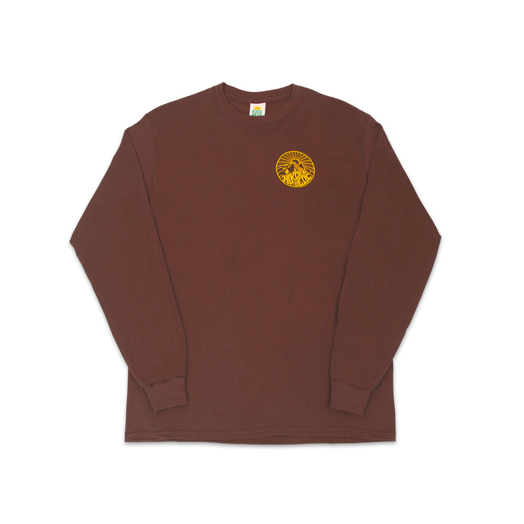 Hikerdelic Core Logo Longsleeve T-Shirt - Brown / Yellow - Hikerdelic Shop