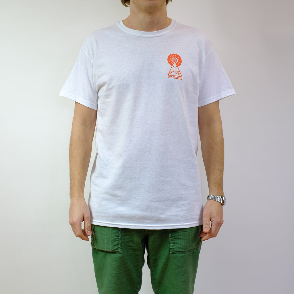 Hikerdelic Keyhole T-Shirt - White / Orange - Hikerdelic Shop
