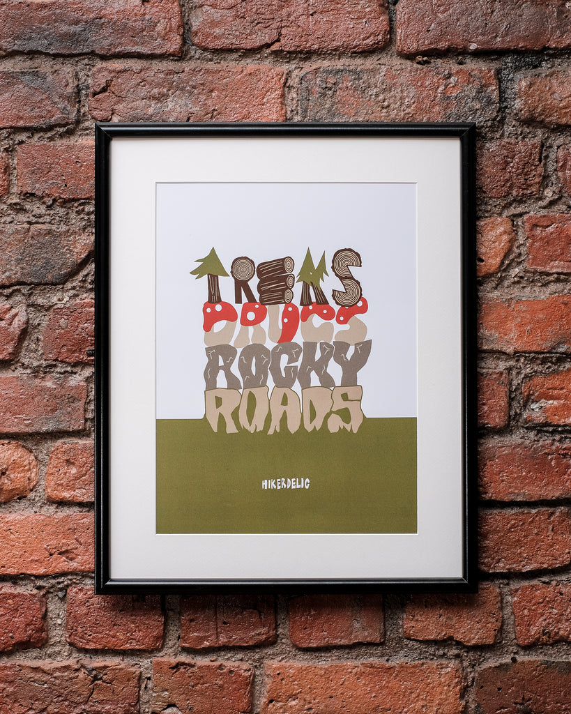 Hikerdelic Treks Drugs and Rocky Roads A3 Poster