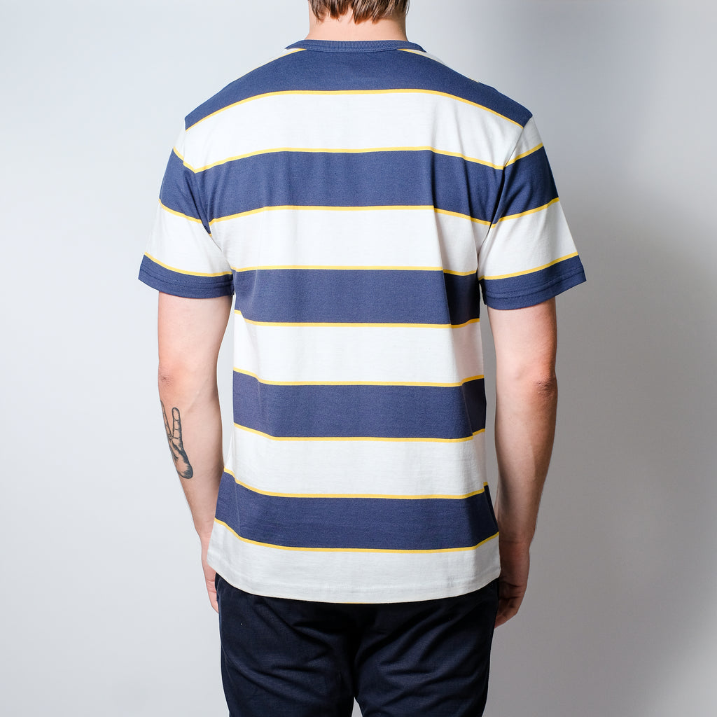 Hikerdelic Wide Stripe SS T-Shirt White / Navy White / Navy