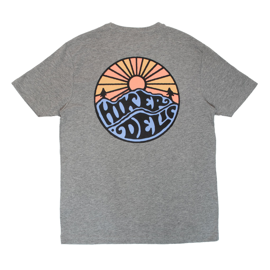 Hikerdelic Original Logo T-Shirt Grey / Tangerine Trees - Hikerdelic Shop
