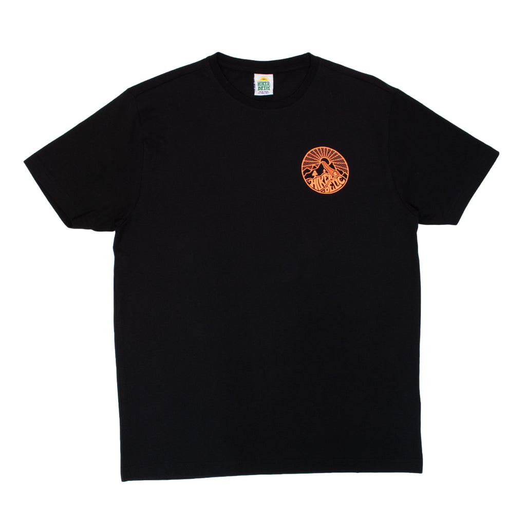 Hikerdelic Core Logo T-Shirt Black / Neon Orange - Hikerdelic Shop
