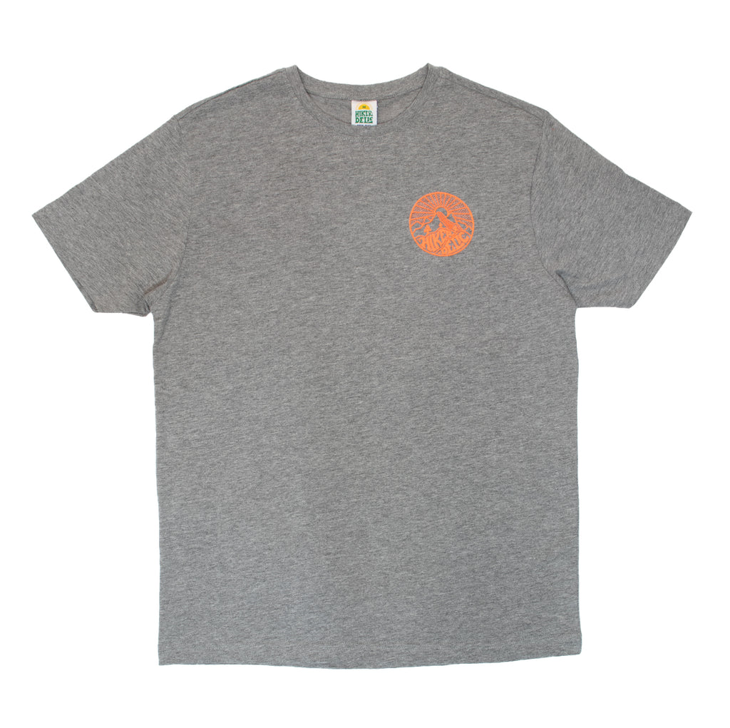 Hikerdelic Core Logo T-Shirt Grey / Neon Orange - Hikerdelic Shop