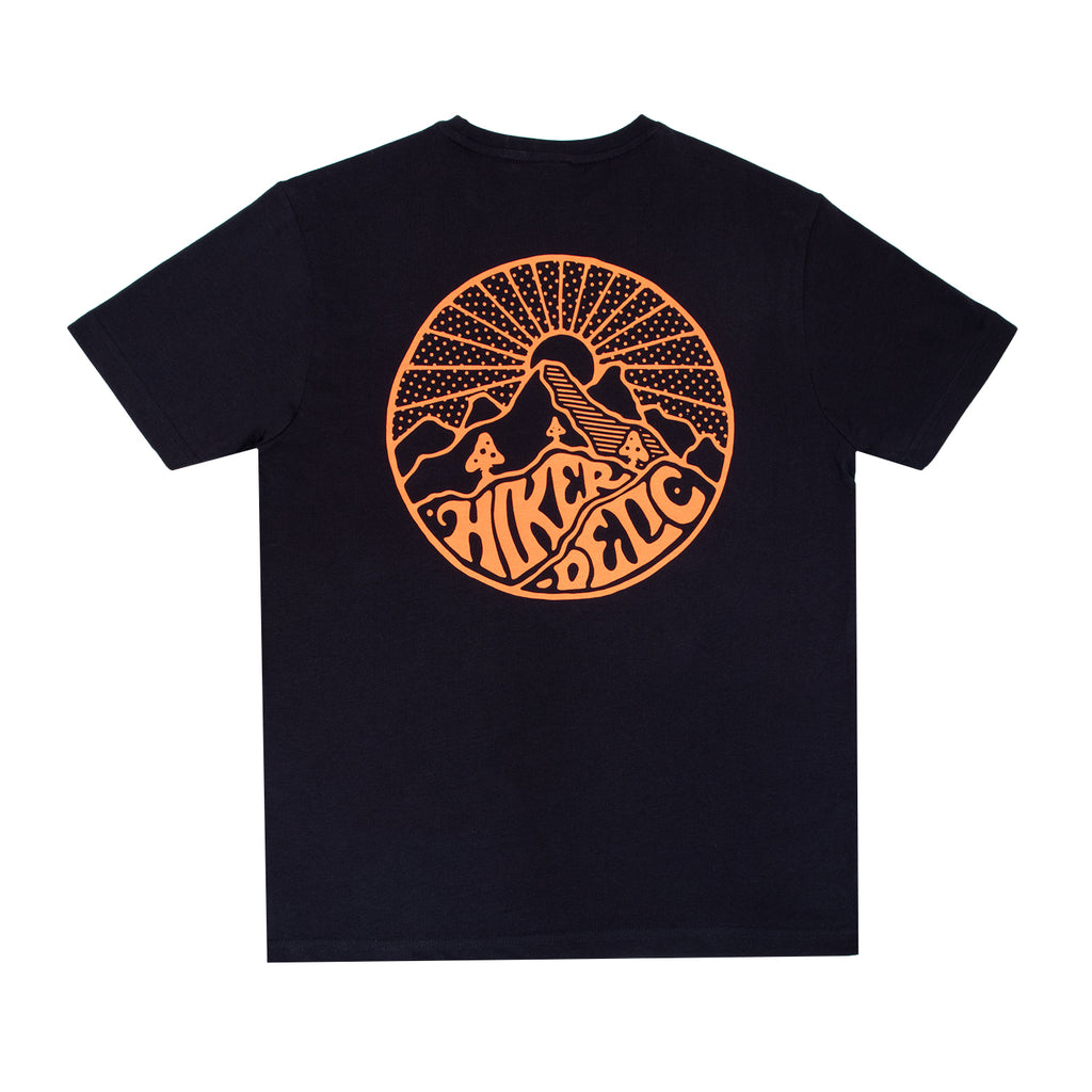Hikerdelic Core Logo T-Shirt Dark Navy /  Neon Orange - Hikerdelic Shop