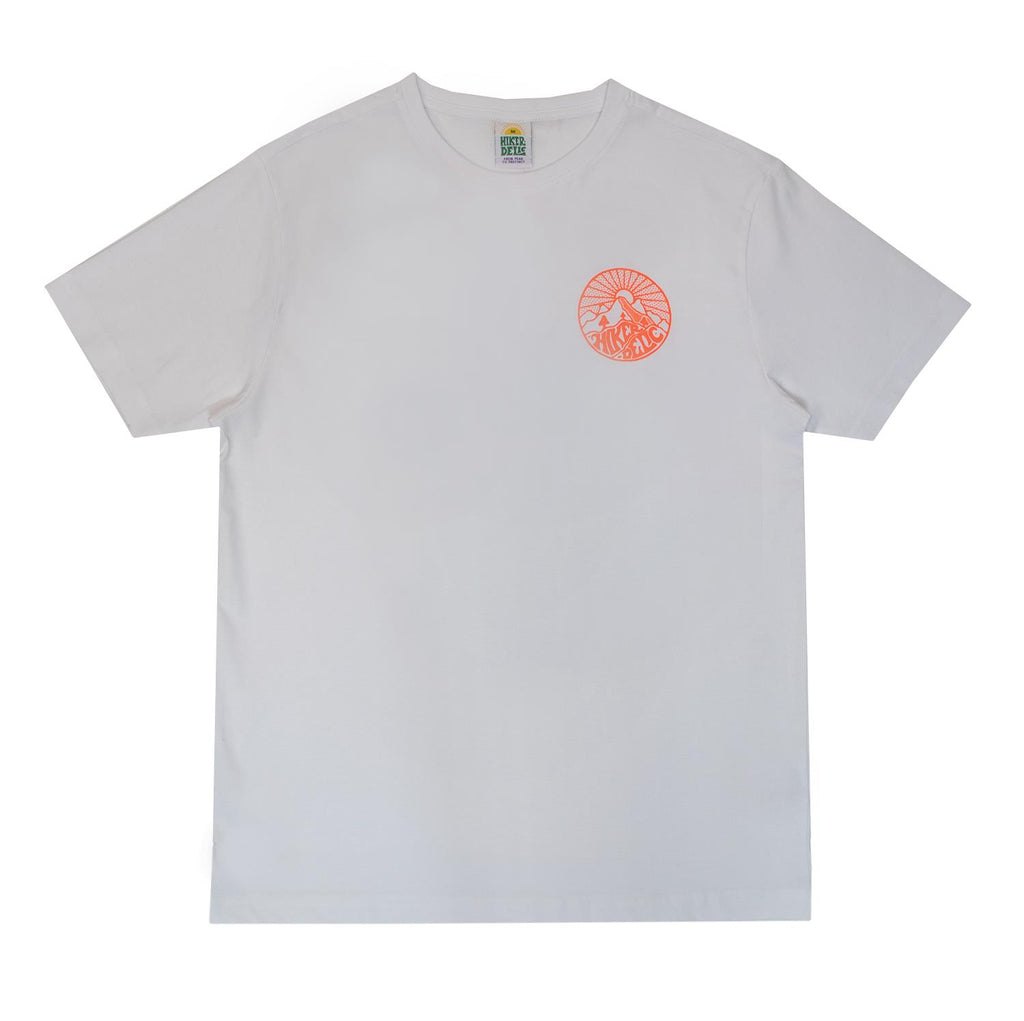 Hikerdelic Core Logo T-Shirt White /  Neon Orange - Hikerdelic Shop