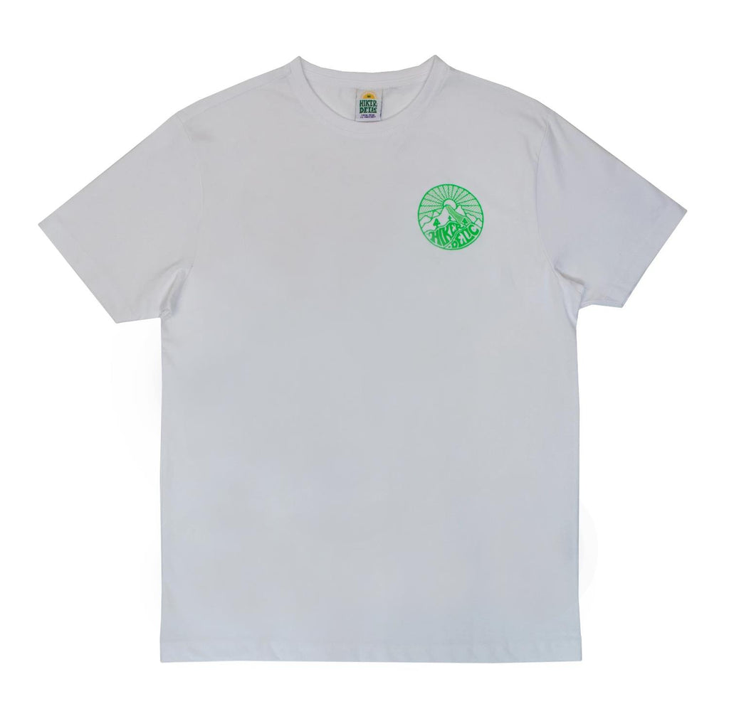 Hikerdelic Core Logo T-Shirt White / Neon Green - Hikerdelic Shop
