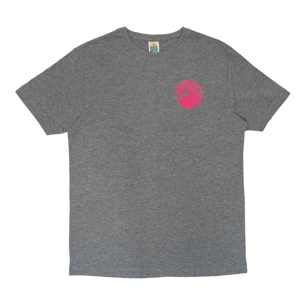 Hikerdelic Core Logo T-Shirt Grey / Neon Pink - Hikerdelic Shop