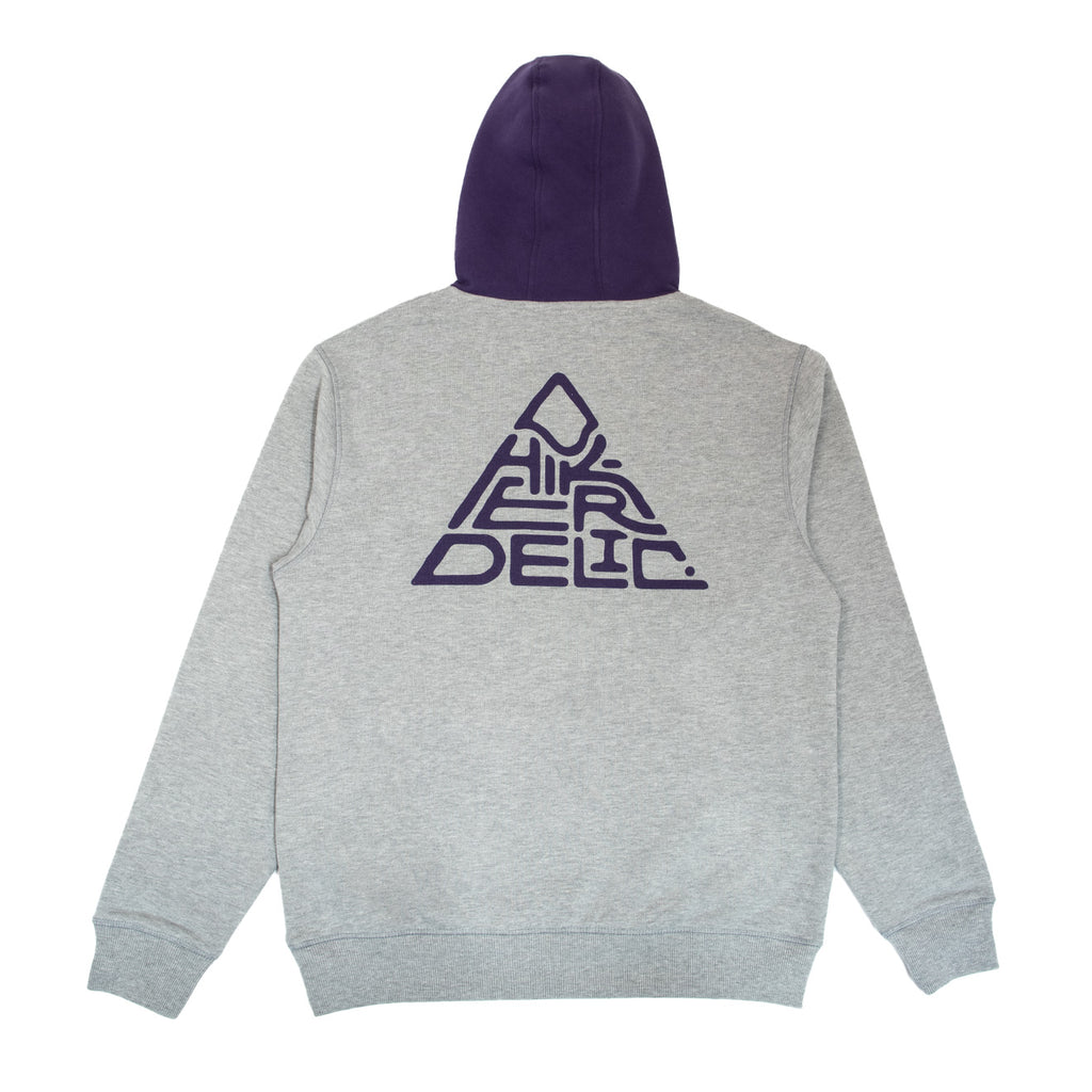 Hikerdelic Mountain Logo Hoodie - Grey Marl / Purple