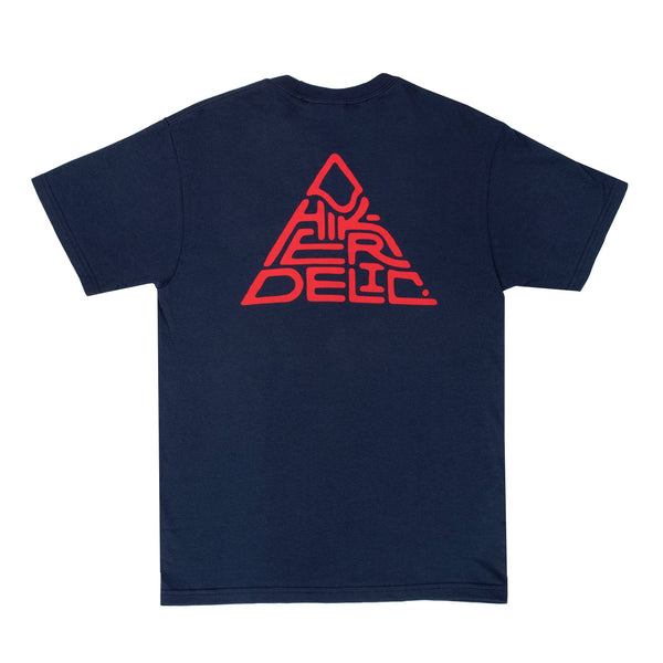 Hikerdelic 60° Mountain Logo T-Shirt - Navy/Red - Hikerdelic Shop